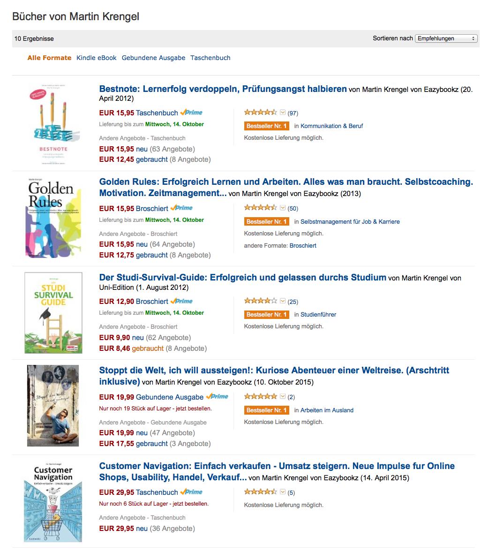 Eine Übersicht meiner Bücher zum Zeitmanagement, Motivation, Lernen, Marketing und Reisen