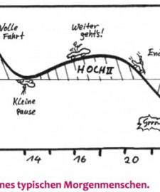 Achte auf deinen Biorhythmus -nhier siehst du die Leistungskurve bzw. die Biorhythmuskurve eines typischen Morgenmenschen