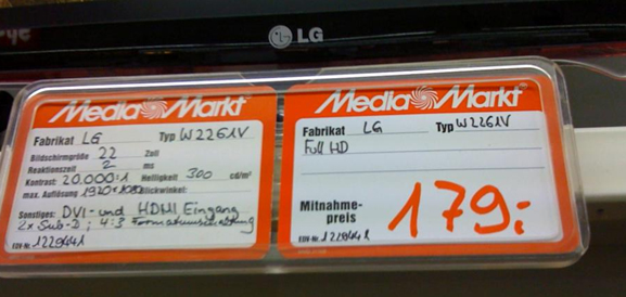 Foto aus einem Elektronikmarkt - wirre Informationen