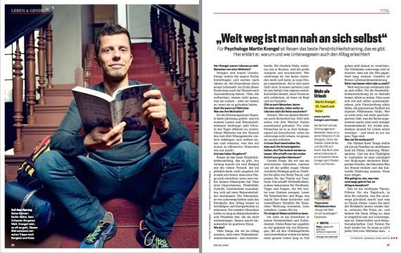 """Martin Krengel im Focus Magazin 2016 - Beitrag zum Weltreise-Buch """"Stoppt die Welt, ich will aussteigen"""" - Reisebericht über kuriose Abenteuer"""