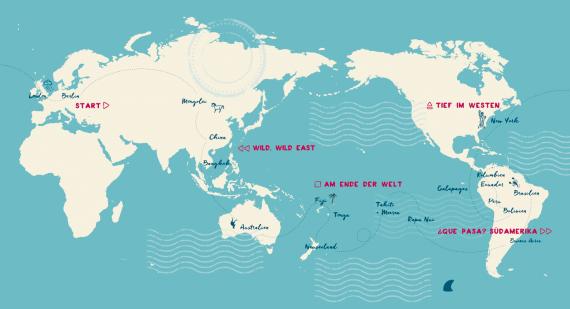 """Weltreise-Berich """"Stoppt die Welt, ich will aussteigen"""" von Martin Krengel: Der Reisebericht führt über folgende Länder: durch Südamerika, Asien, Australien und Städte wie Rio de Janeiro, Bangkok, Peking, New York"""