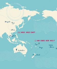 Weltreise planen - Route Beispiel für eine Weltreise von 1 Jahr - Reisebuch Autor Martin Krengel - einmal durch Asien - Australien - Südsee - Südamerika - USA - Europa und zurück